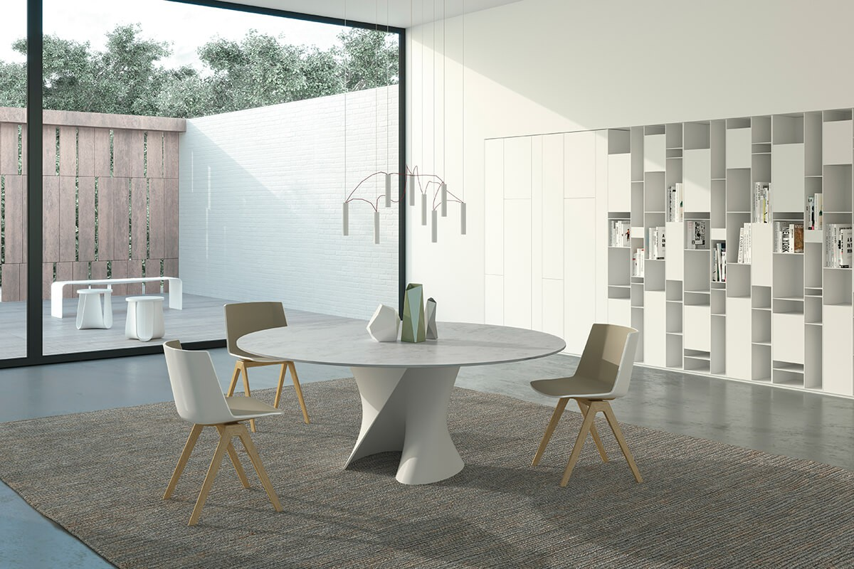 MDF Italia - S table - ronde tafel wit marmer